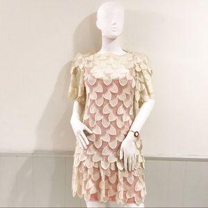 Vintage runway 3 dimensional leaf dress